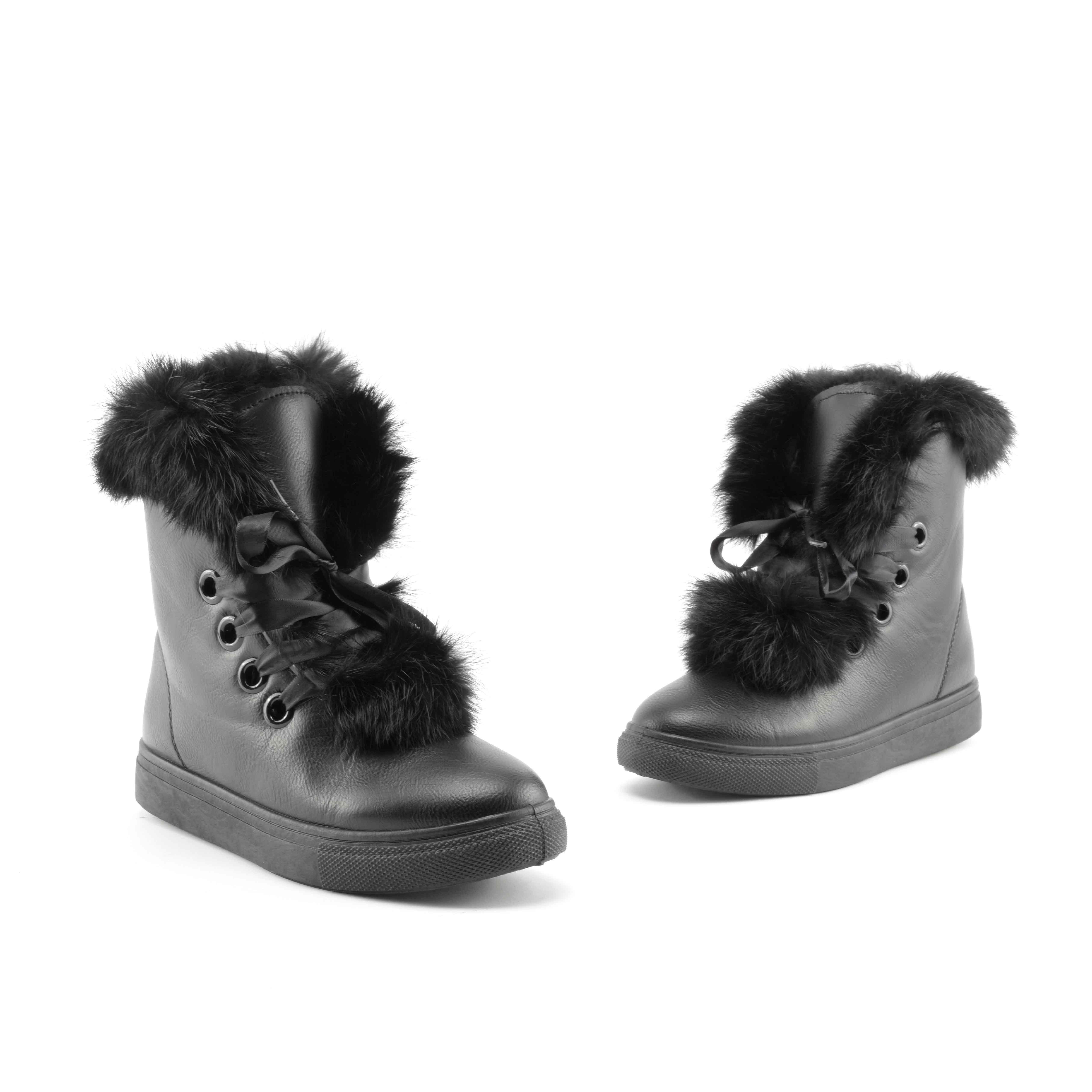 Fekete Női Szőrmés Műbőr Utcai Cipő - HÓTAPOSÓK - Női cipő webáruház ... 3b04660c8c