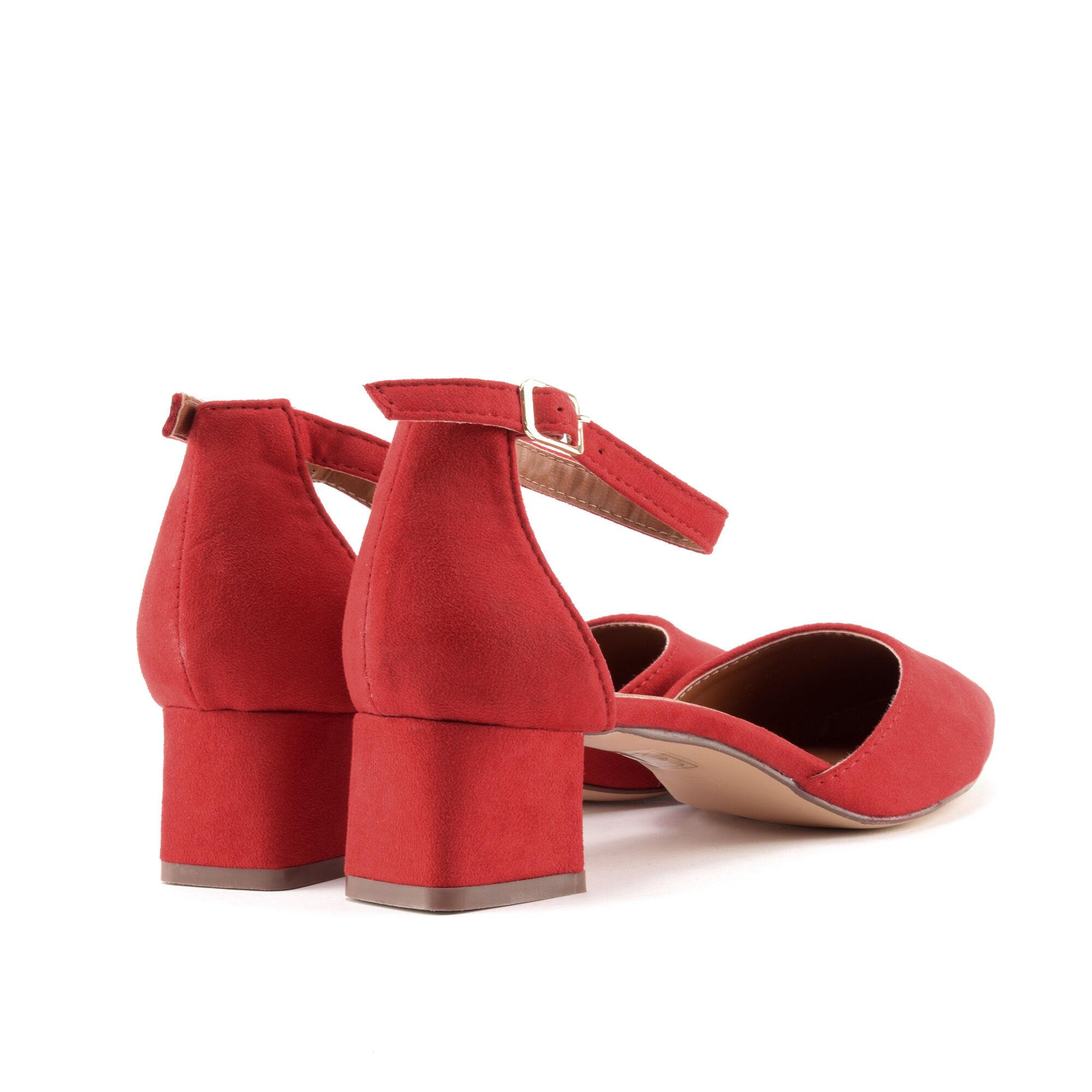 Női piros trottőr sarkú művelúr cipő - TÖRPESARKÚ CIPŐK - Női cipő ... 03fe79eae6